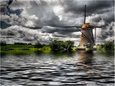 Picture Of Windmill Clouds Water