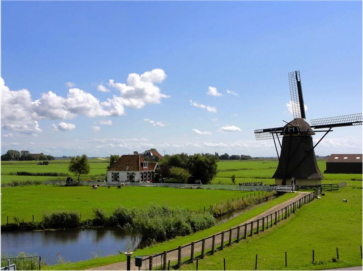 Picture Of Windmill Landscape Sky Clouds